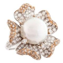 Exquisite Pearl Diamond Gold Ring