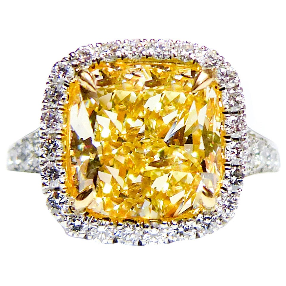 504 carat canary yellow diamond platinum ring for sale at