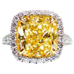 5.04 Carat Canary Yellow Diamond Platinum Ring