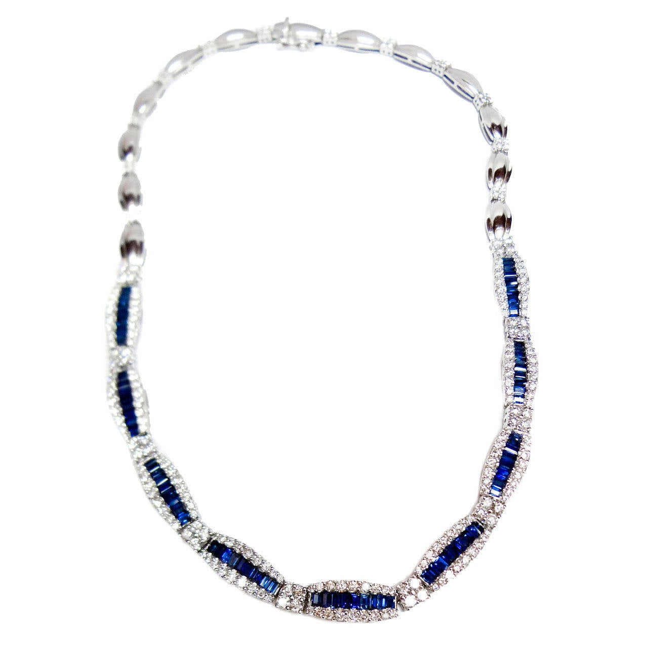 Stunning Sapphire Diamond Gold Necklace For Sale