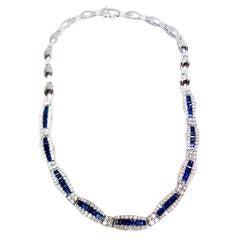 Stunning Sapphire Diamond Gold Necklace
