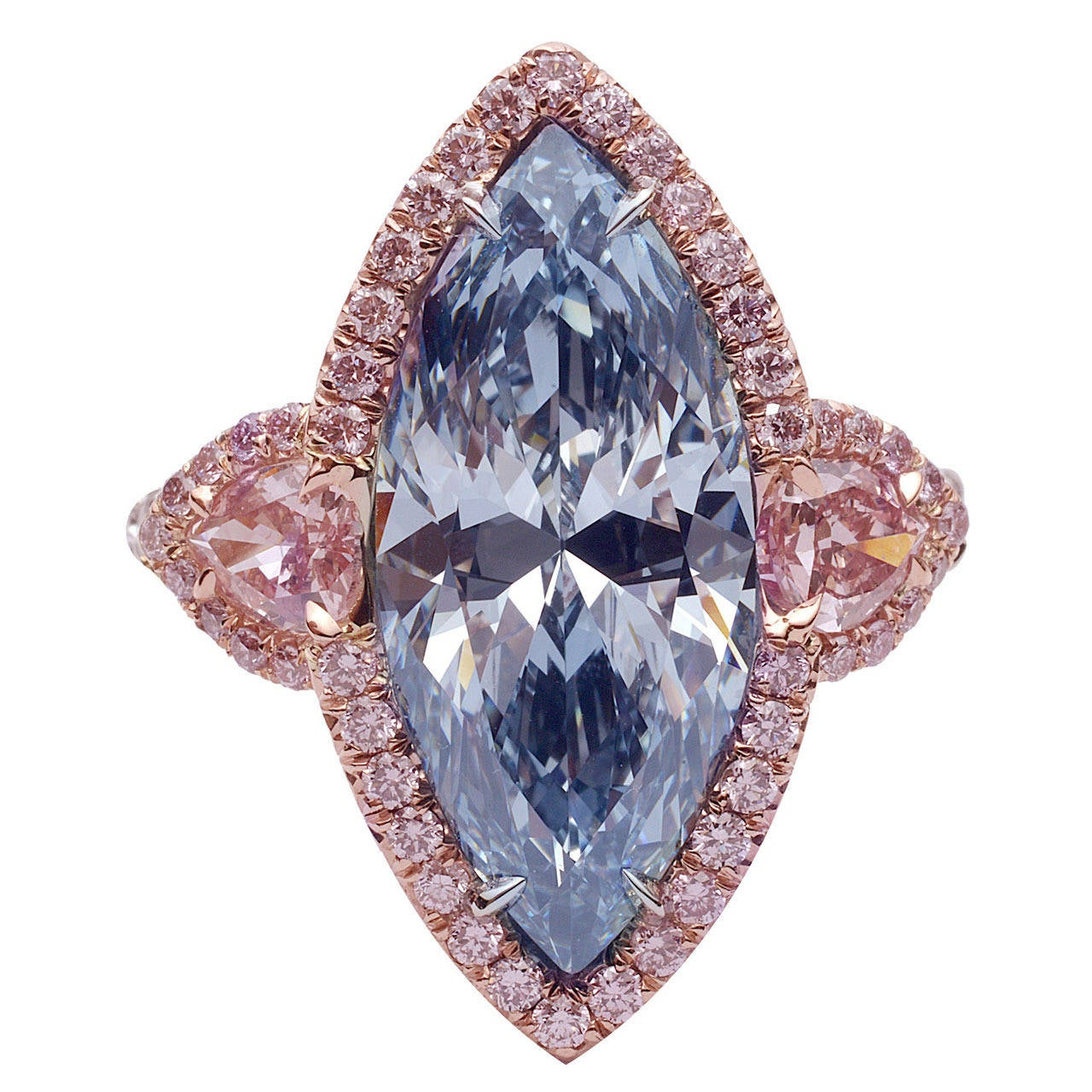 3.83 Carat Fancy Intense Blue Marquise Diamond Platinum Ring For Sale