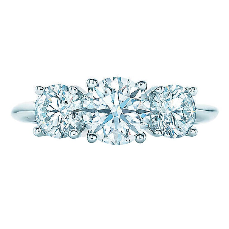 Tiffany Round Brilliant Three Stone Diamond Platinum Ring