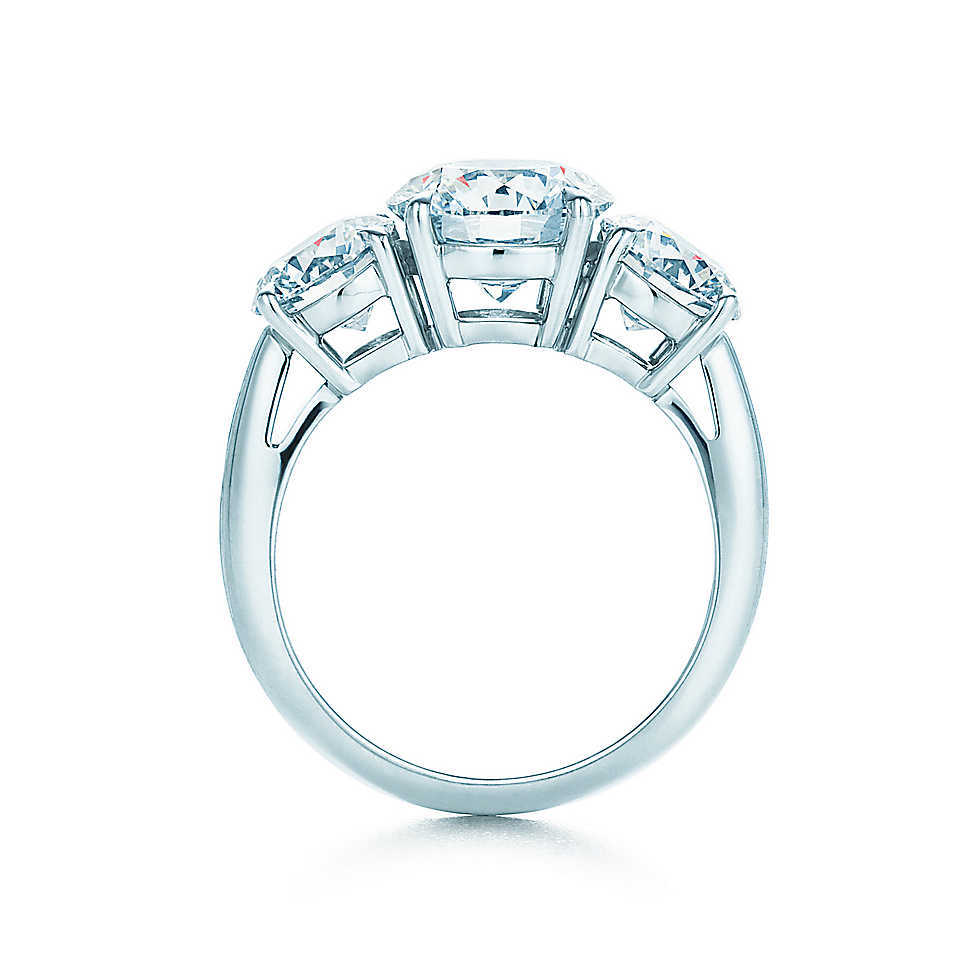 0908d679d5d54 Tiffany Round Brilliant Three Stone Diamond Platinum Ring