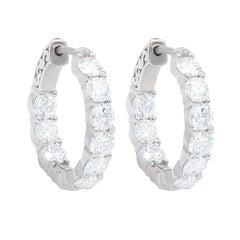 White Gold Large Size Diamond Hoop Earrings