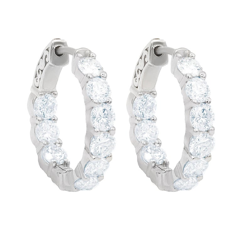 White Gold Large Size Diamond Hoop Earrings For