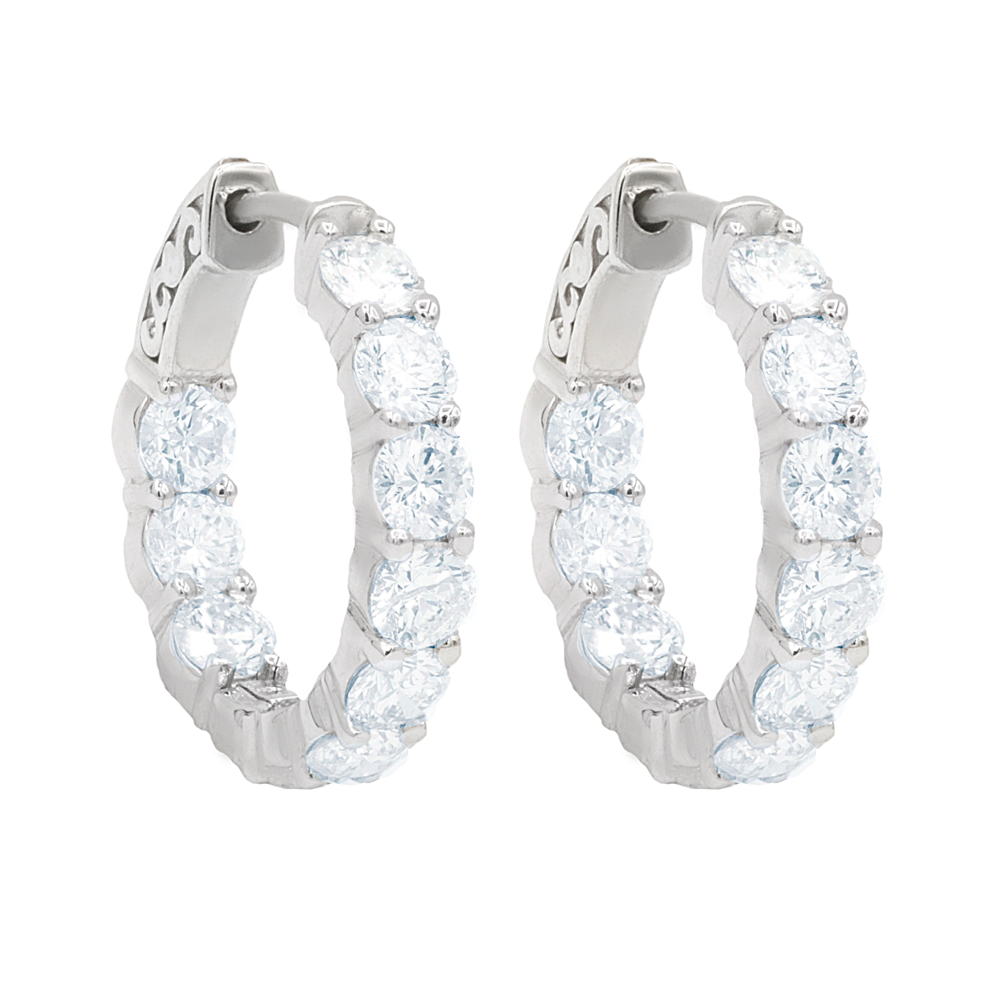 11abacc5c White Gold Large Size Diamond Hoop Earrings For Sale at 1stdibs