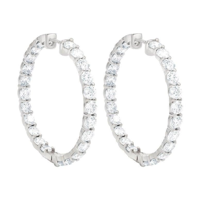 Inside Out 16.50 Carat Diamond Hoops Earrings, Each Stone 0.35 Carat