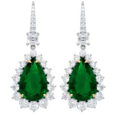 Certified 12.28 Carat Emerald and Diamond Earrings