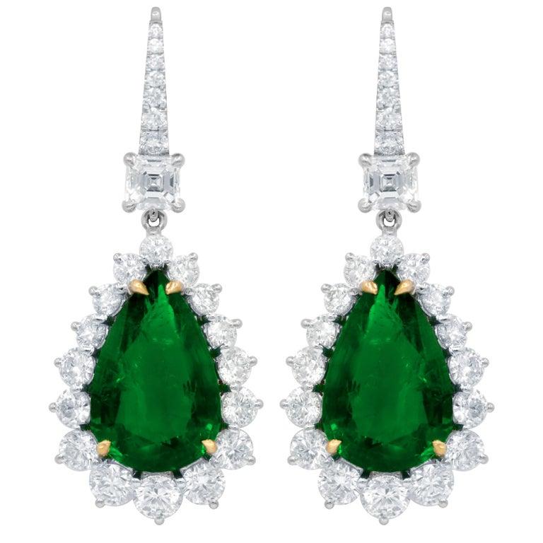 Certified 12.28 Carat Emerald and Diamond Earrings
