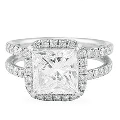 GIA Certified 3.00 Carat Princess Cut Diamond Platinum Engagement Ring