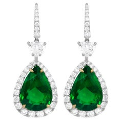 GIA Certified Pair of Green Emerald Drop Earrings with 15.34 Carat of Emeralds