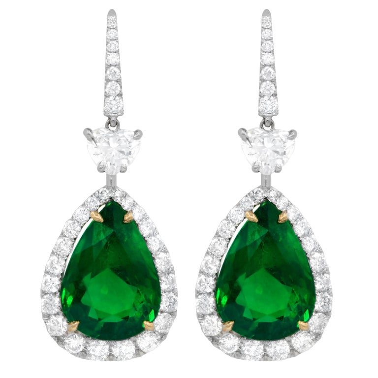 Gia Certified Pair Of Green Emerald Drop Earrings With 15 34 Carat Emeralds For