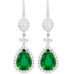 Gorgeous Green Emerald and Diamond Drop Earrings Crafted in 18 Karat White Gold