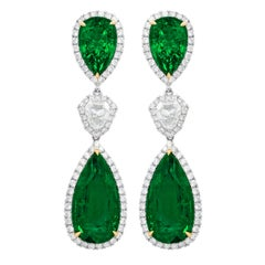 Platinum Drop Earrings with 21.41 Carat of GIA Certified Green Emeralds