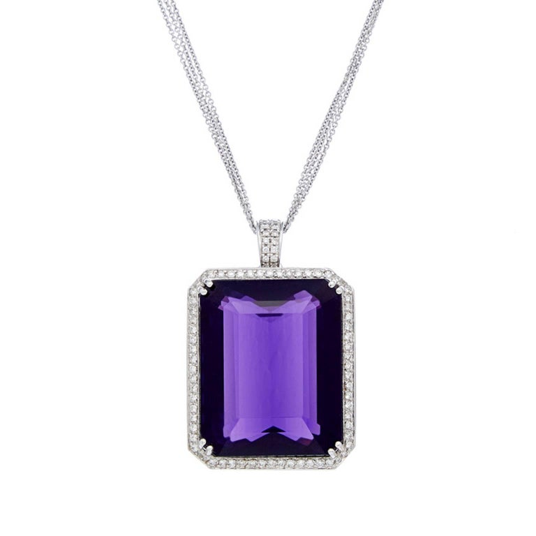 White Gold Pendant with 83.00 Carat Deep Purple Amethyst and White Diamonds For Sale