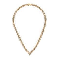 22.00 Carat Three-Row Diamond Necklace Crafted in 18 Karat Yellow Gold