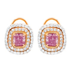 GIA Certified 3.30 Carat TDW Fancy Pink Diamond Stud Earrings