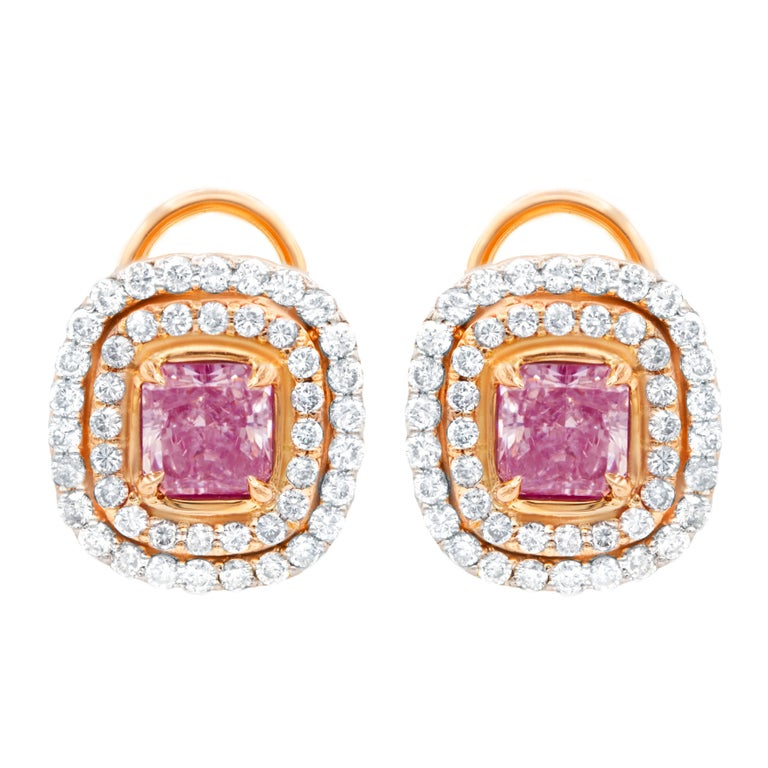 GIA Certified 3.30 Carat TDW Fancy Pink Diamond Stud Earrings For Sale