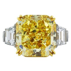 Magnificent 10.18 Carat Fancy Intense Yellow Internally Flawless Diamond Ring