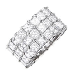 Platinum Three-Row Eternity Wedding Band with 14.00 Carat of Asscher Cut Diamond