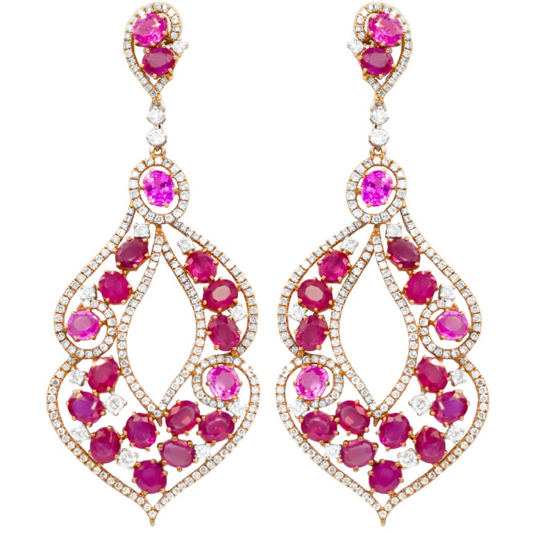 Marvellous Sapphire, Ruby and Diamond Earrings