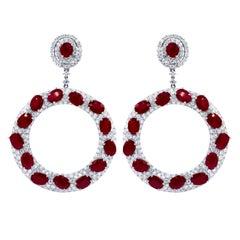 Stunning Ruby and Diamond Earrings