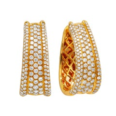 18 Karat Rose Gold Diamond Pave Hoop Earrings