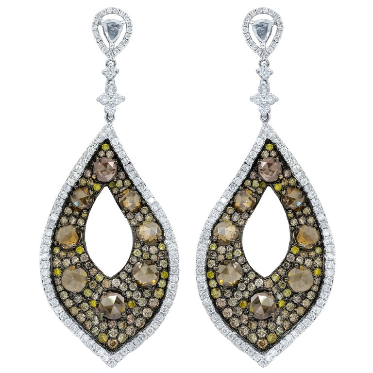 18 Karat White Gold and Colored Diamond Earrings