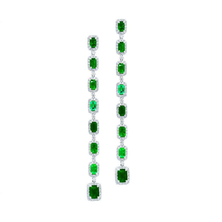 18 Karat White Gold and Emerald and Diamond Drop Earrings
