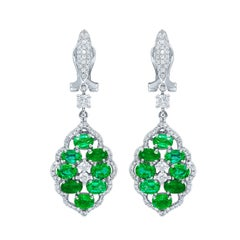 18 Karat White Gold, Diamond and Emerald Drop Design Earrings