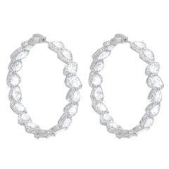 18 Karat White Gold Rose Cut Diamond Hoop Earrings