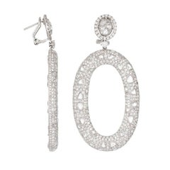 18 Karat White Gold and Diamond Oval Drop Earrings