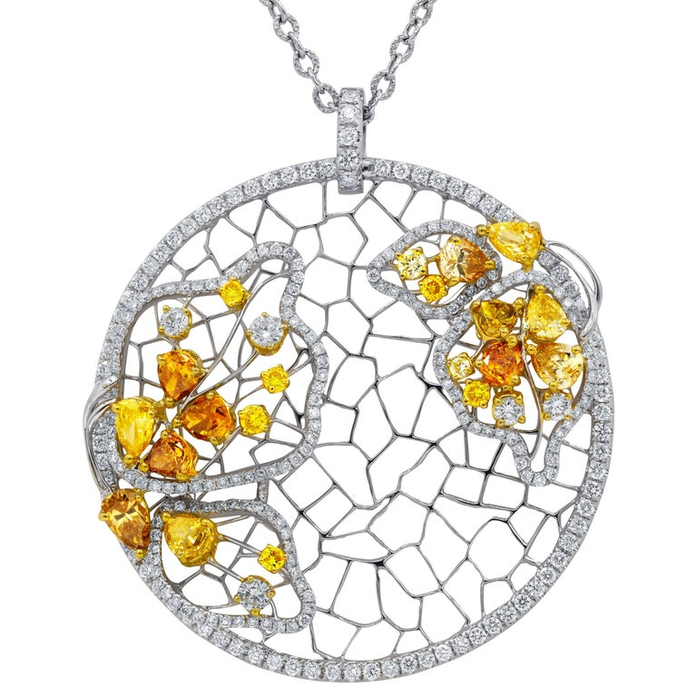 Butterfly Yellow and White Diamond Pendant