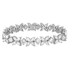 18 Karat White Gold 20.00 Carat Cluster Diamond Bracelet