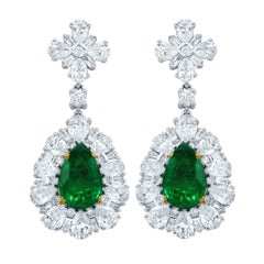 Certified Green Emerald and Diamond Earrings