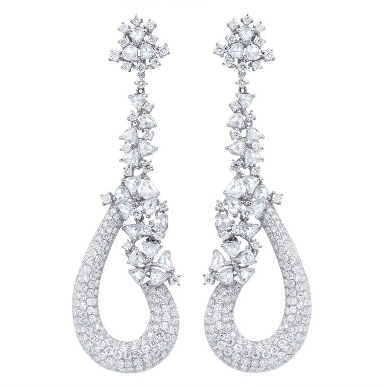 10.18 Carat Rose Cut Diamond Earrings