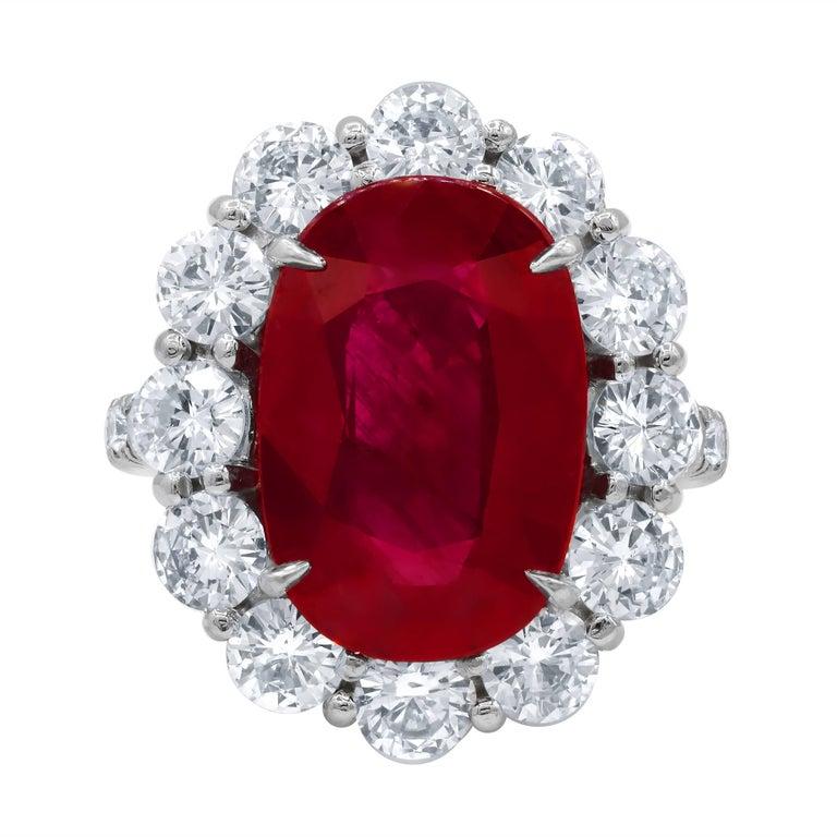 GSR Certified 8.50 Carats Ruby Diamond Ring