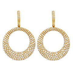 18 Karat Rose Gold Diamond Pave Circle Earrings