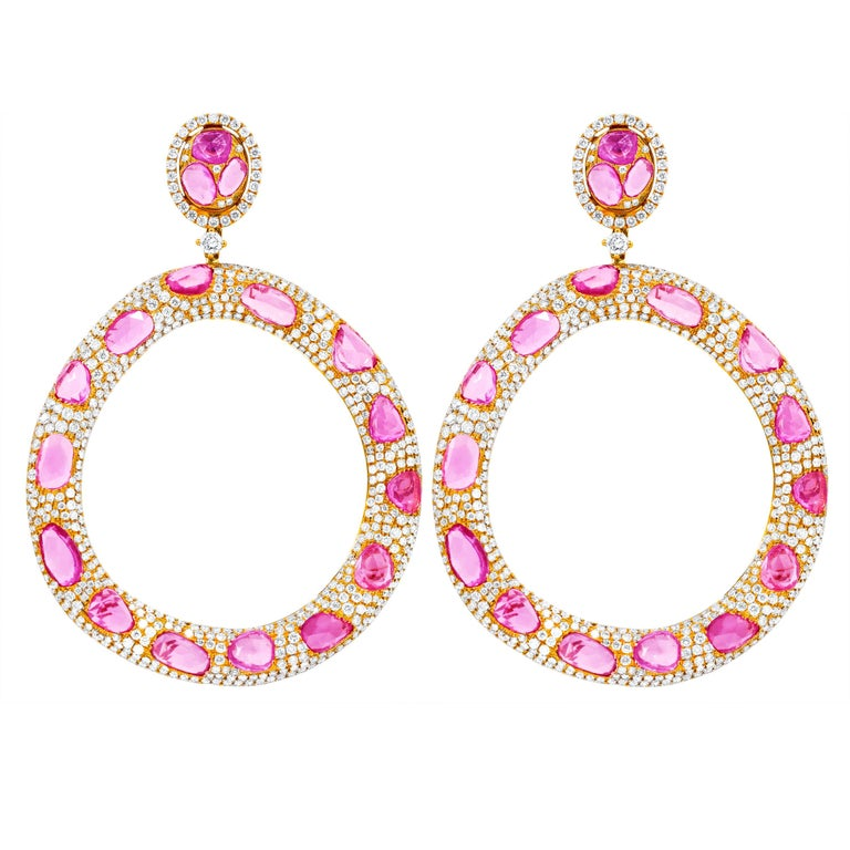 74b5fddaa08 Large Rose Gold Pink Sapphire and Diamond Earrings For Sale at 1stdibs