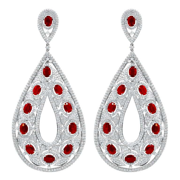 Large Ruby and Diamond Earrings