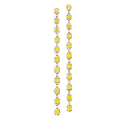 Long Drop Canary Yellow Diamond Earrings