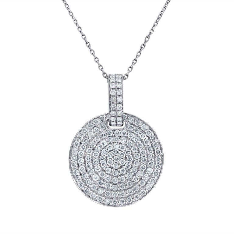 18 Karat White Gold Diamond Pendant For Sale