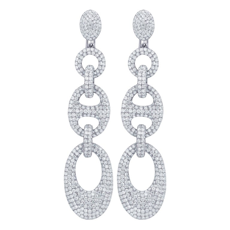 18 Karat White Gold 20 Carat Pave Linked Earrings