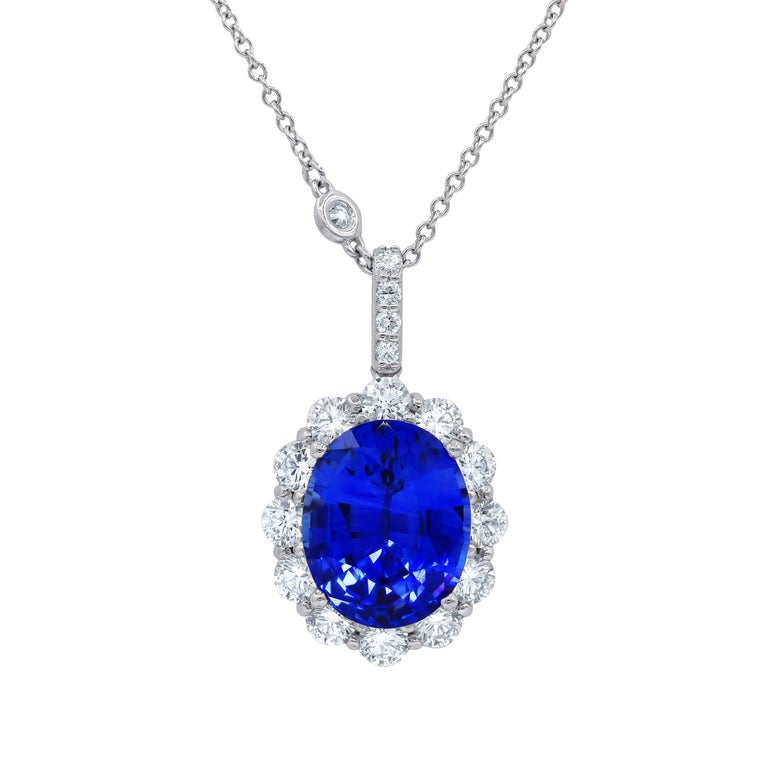 Certified 7.08 Carat Sapphire and Diamond Pendant For Sale