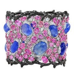 Natural Sapphire and Diamond Cuff Bracelet