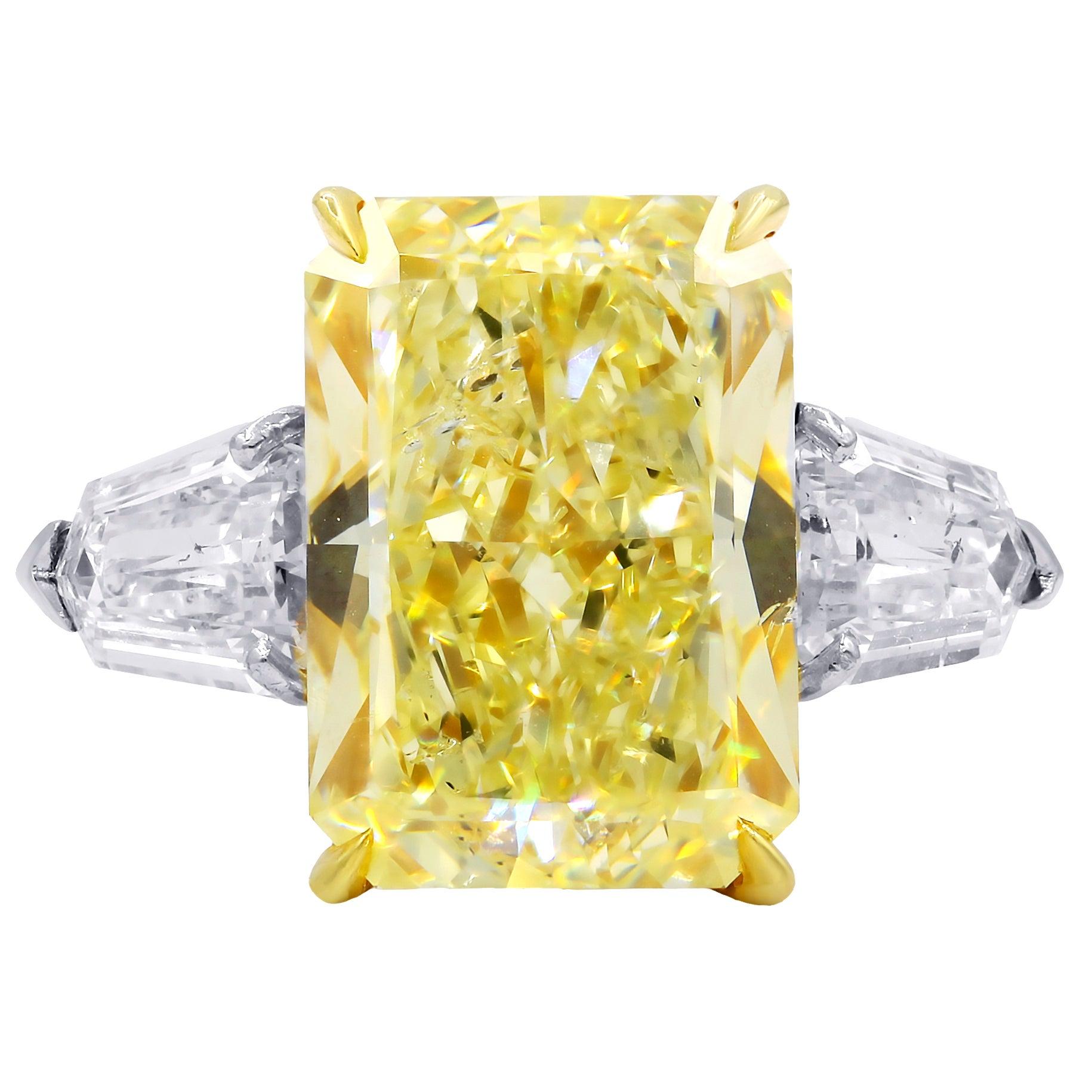 10.15 Carat Fancy Yellow Radiant Cut Diamond Ring, GIA