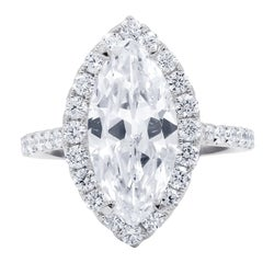 EGL Certified 3.02 Carat H-SI2 Marquise Cut Diamond Ring