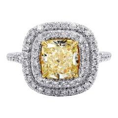 GIA Certified 2.00 Carat Fancy Yellow Diamond Ring
