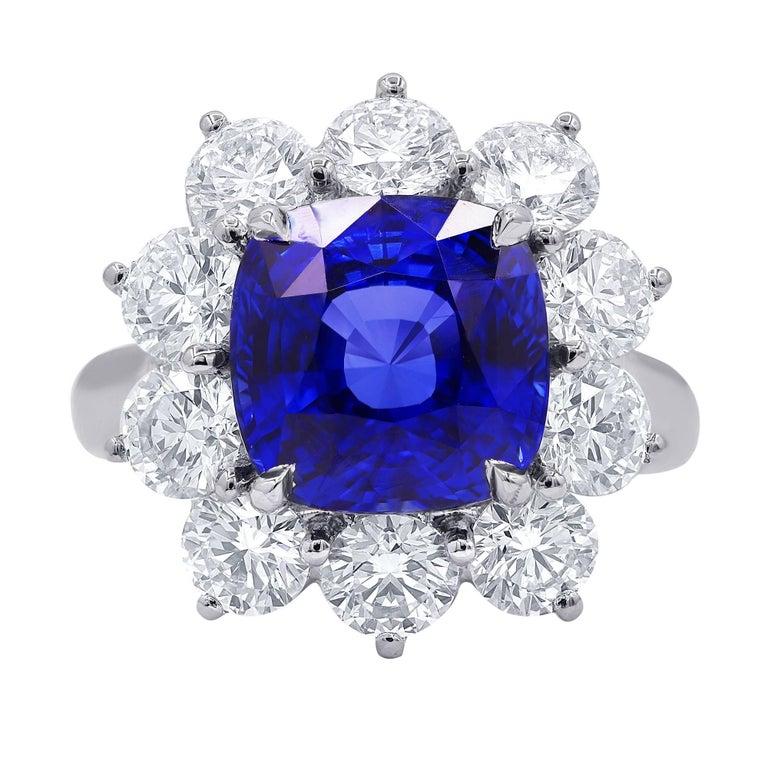 Certified 7.10 Carat Ceylon Sapphire Diamond Ring